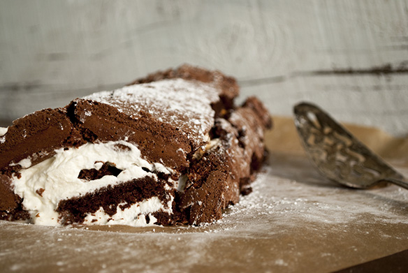 Chocolate Caramel Yule Cake